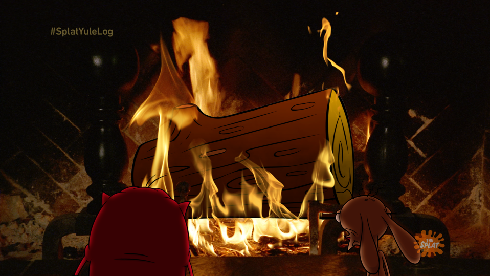 On-air promo design / animation for NickSplat Holiday Yule Log Animation loop