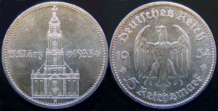 1934 coins commemorating the March 21, 1933 Day of Potsdam, with an image of the Garrison Church.