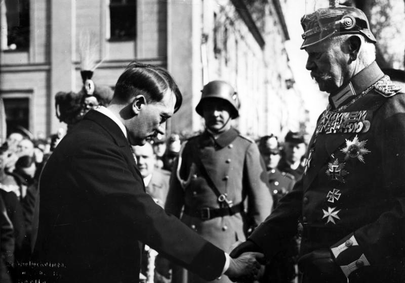 Hitler and Hindenburg outside the Garrison Church on the Day of Potsdam.