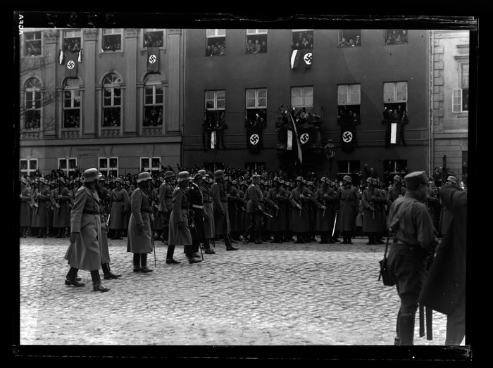 Soldiers marching in Potsdam on March 21, 1933.
