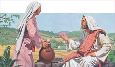 Jesus startling the Woman at the Well with his teaching.