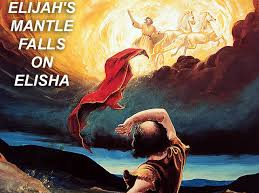 Elijah taken up to heaven as Elisha watches.
