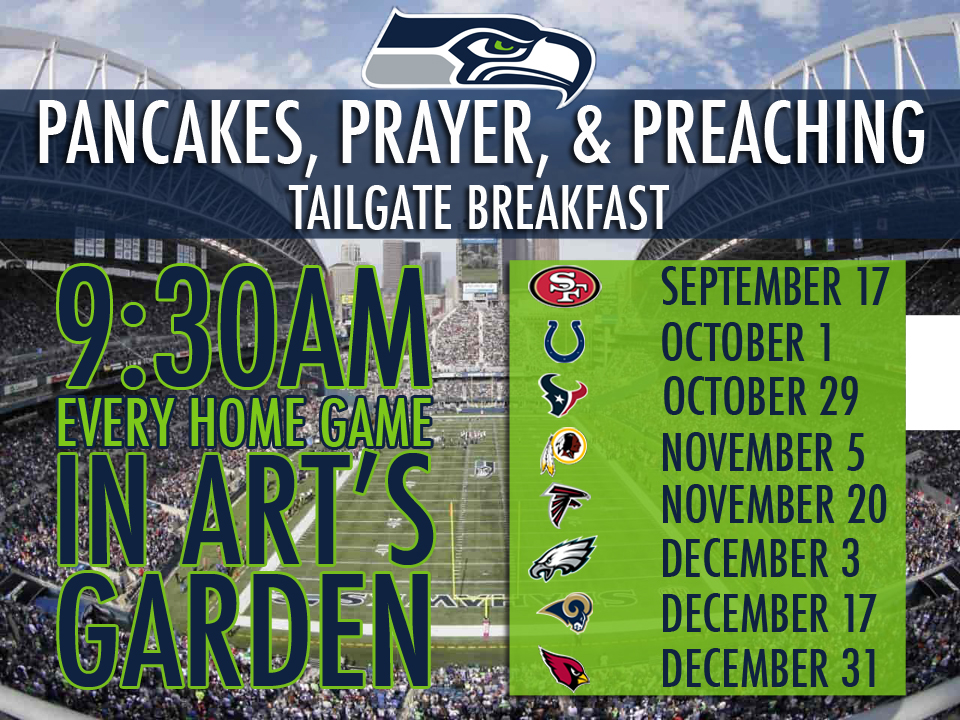 Home game Sundays: join us for pancakes, fellowship, coffee, and prayer before our regular Sunday service at 10am. Sundays at 9:30am in the courtyard off of 15th AVE