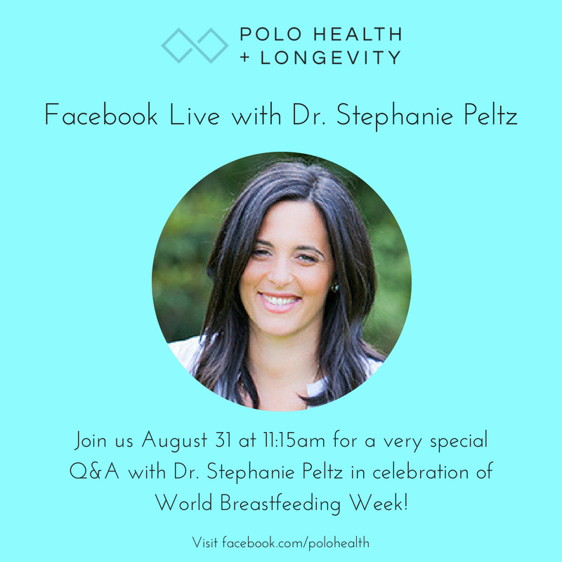 Join Dr. Stephanie Peltz for a Facebook Live event talking all things breastfeeding related  July 31st at 11:15 am -