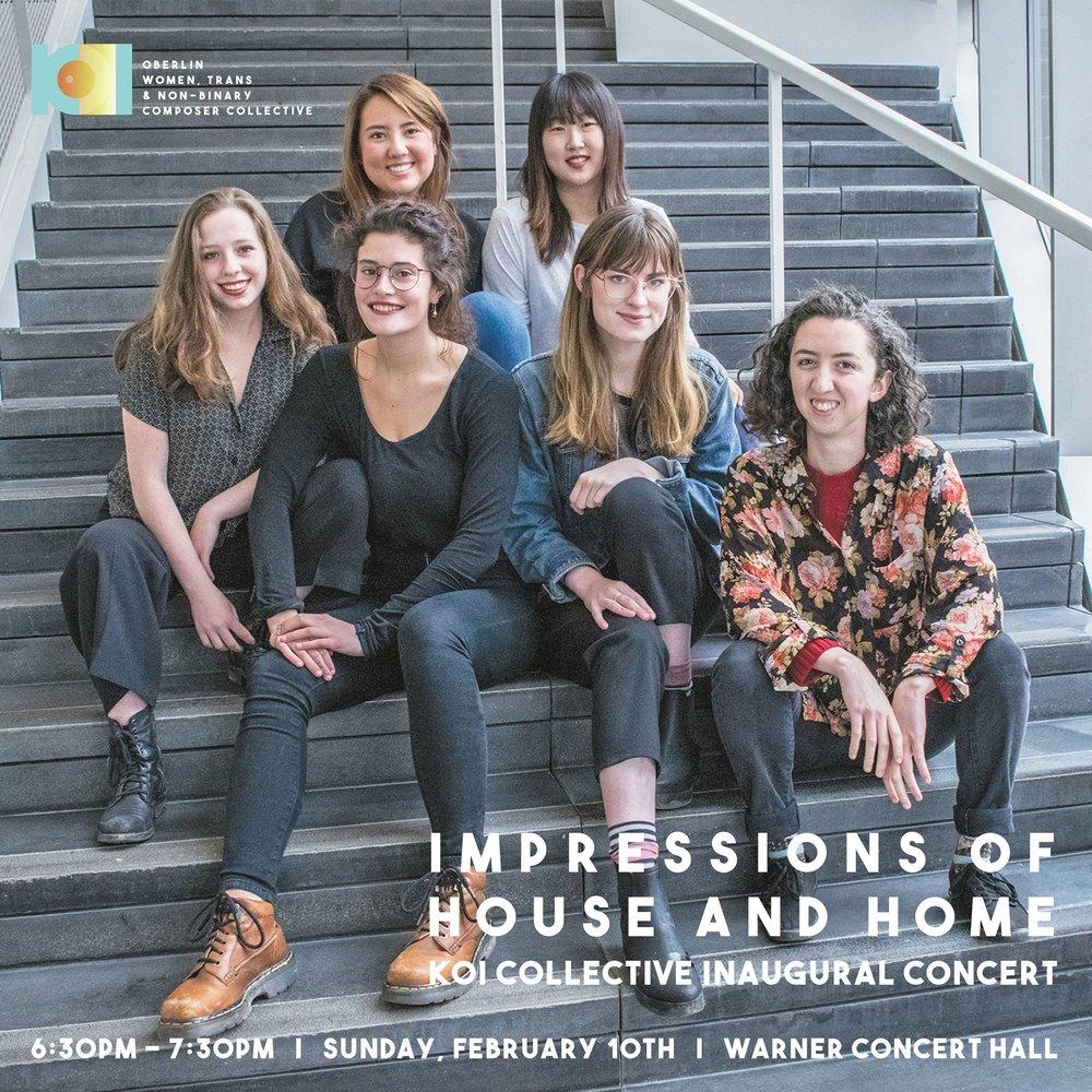 Members of Oberlin's KOI Collective, (starting top left) Natsumi Osborn, Soomin Kim, Elizabeth Kate Hall-Keough, Kari Watson, Eleanore MacPhee, and Charlotte Hill.