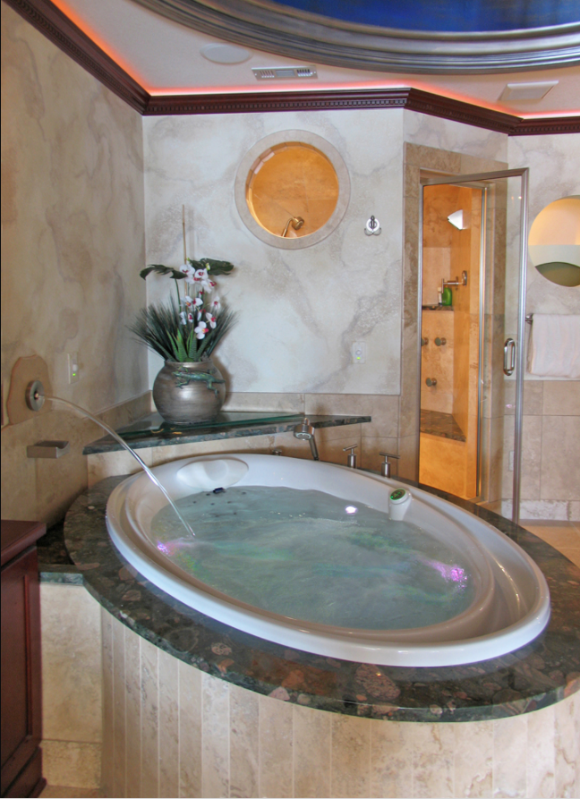 Close-up of Tuscan marble bath