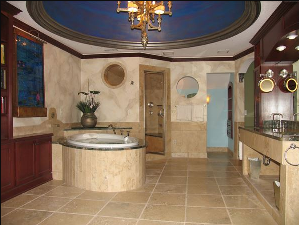 Overview of Tuscan marble bath
