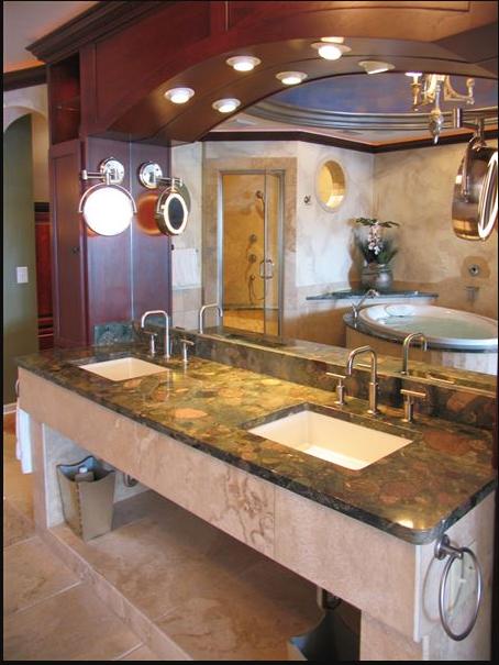 Marble vanity in Tuscan bath