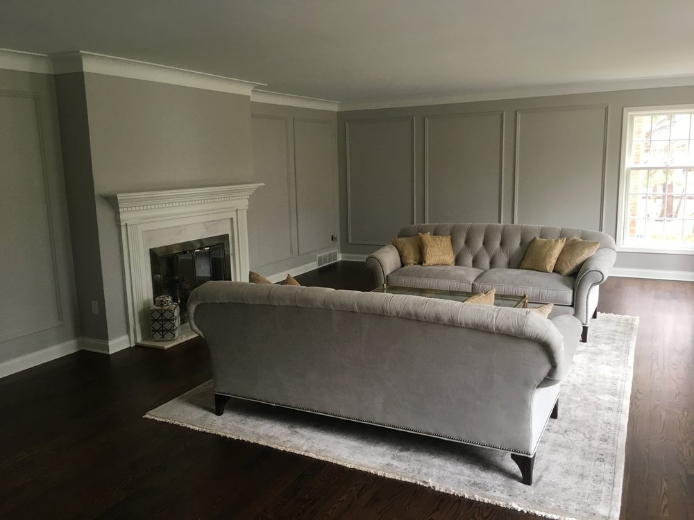 AFTER-panel molding and hardwood flooring
