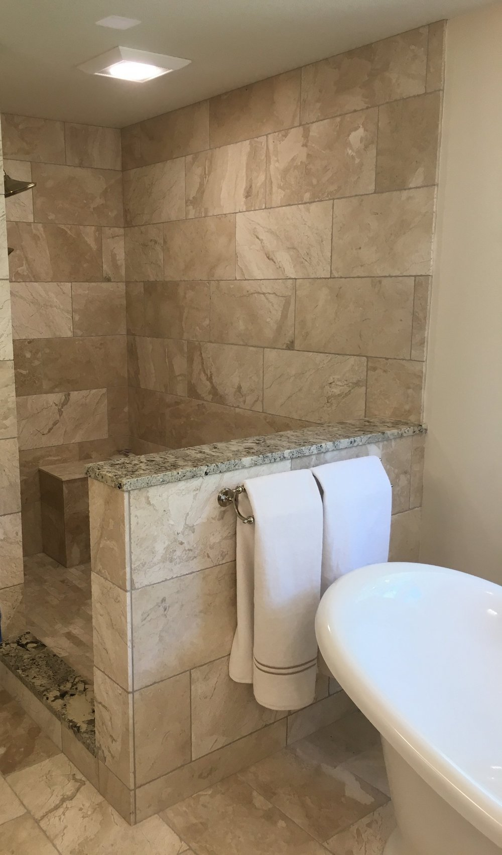 AFTER-an elegant marble walk-in shower