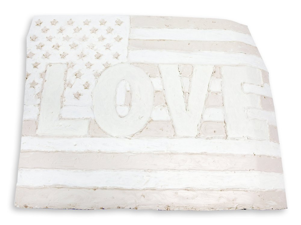 White Flag ONE LOVE 46x32 is a bridge between the Whtie Flag Series and the LOVE series.  It is Oil on Metal.  This piece is half the size of the larger White Flag ONE LOVE sculpture.  This piece is made from one half of a Ford F-150 Pick Up Truck Hood, where the larger White Flag is a full hood.  Dimensions: 46 inches wide, 32 inches tall, 5 inches deep.