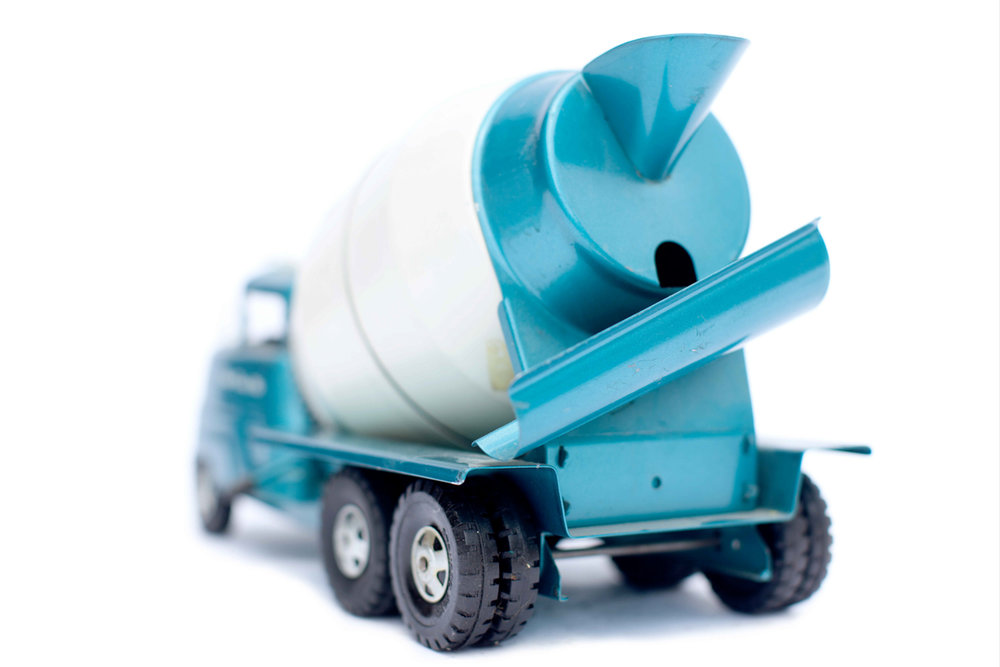 Vintage Metalic Blue Toy Cement Truck From Behind.jpg