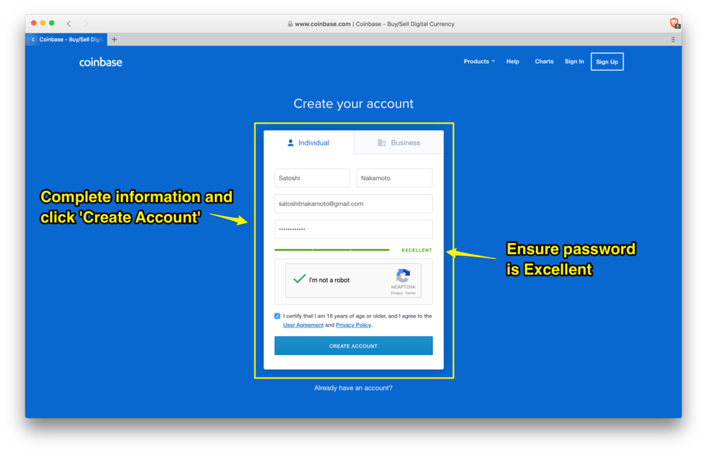 Coinbase: create your account page