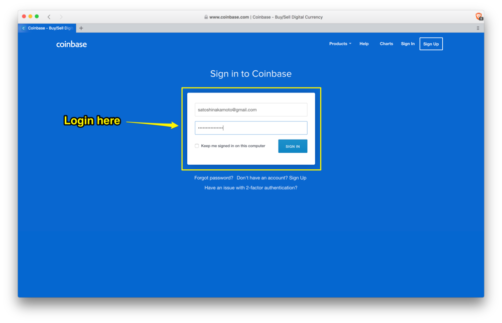 Coinbase: login screen
