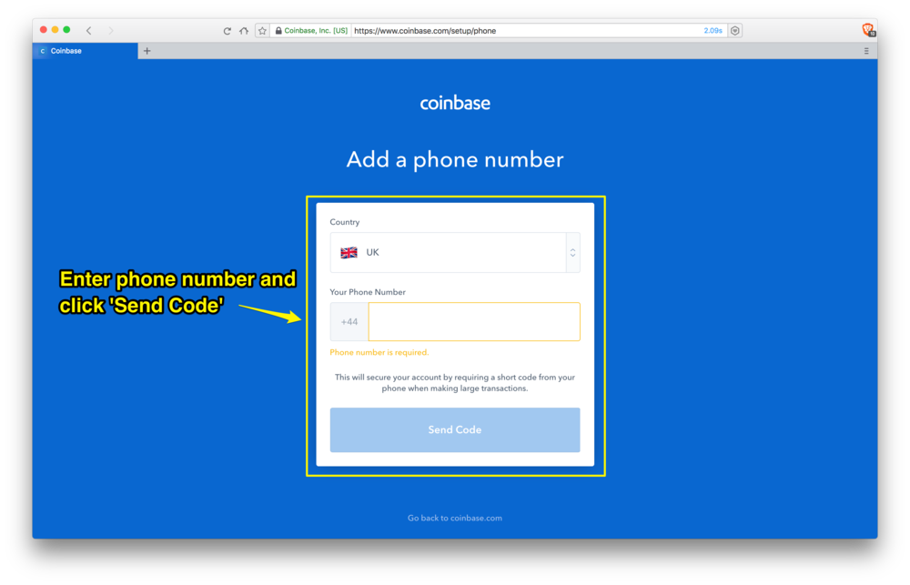 Coinbase: secure your account with your phone number