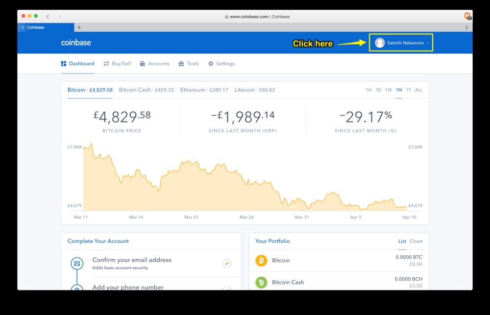 Coinbase: dashboard