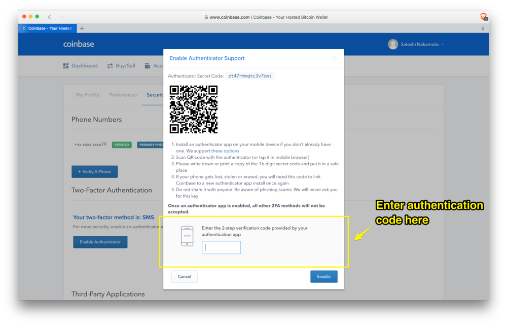 Coinbase: confirming your Two-Factor Authentication