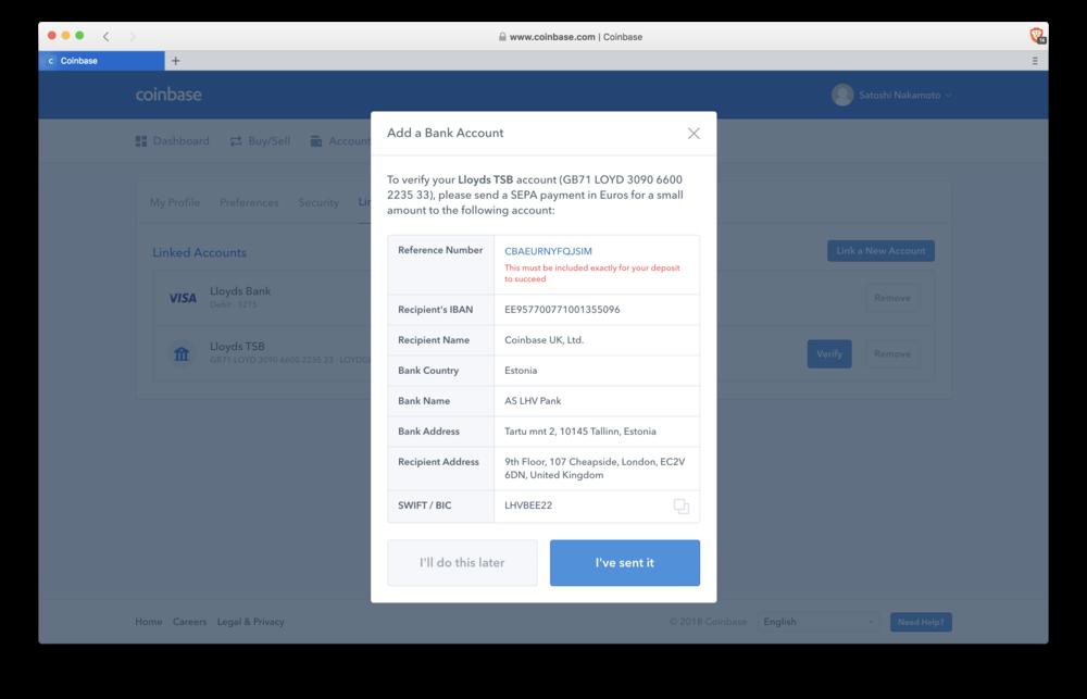 Coinbase: test deposit details