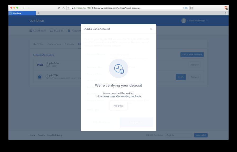 Coinbase: verifying bank deposit