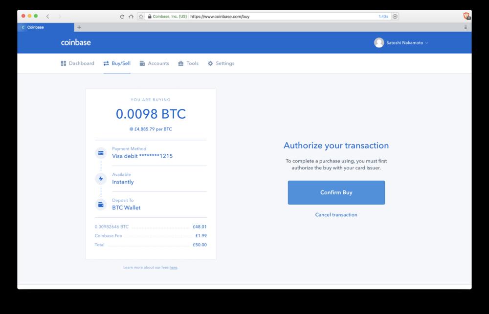 Coinbase: authorising transaction