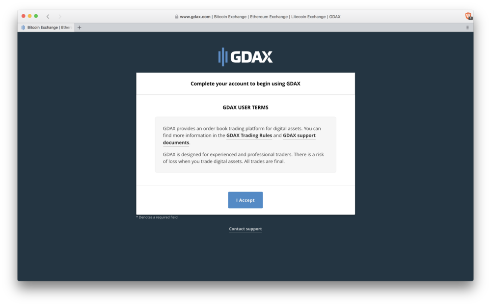 GDAX: terms & conditions