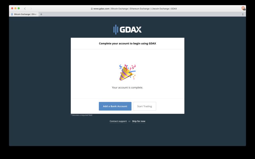 GDAX: banking option