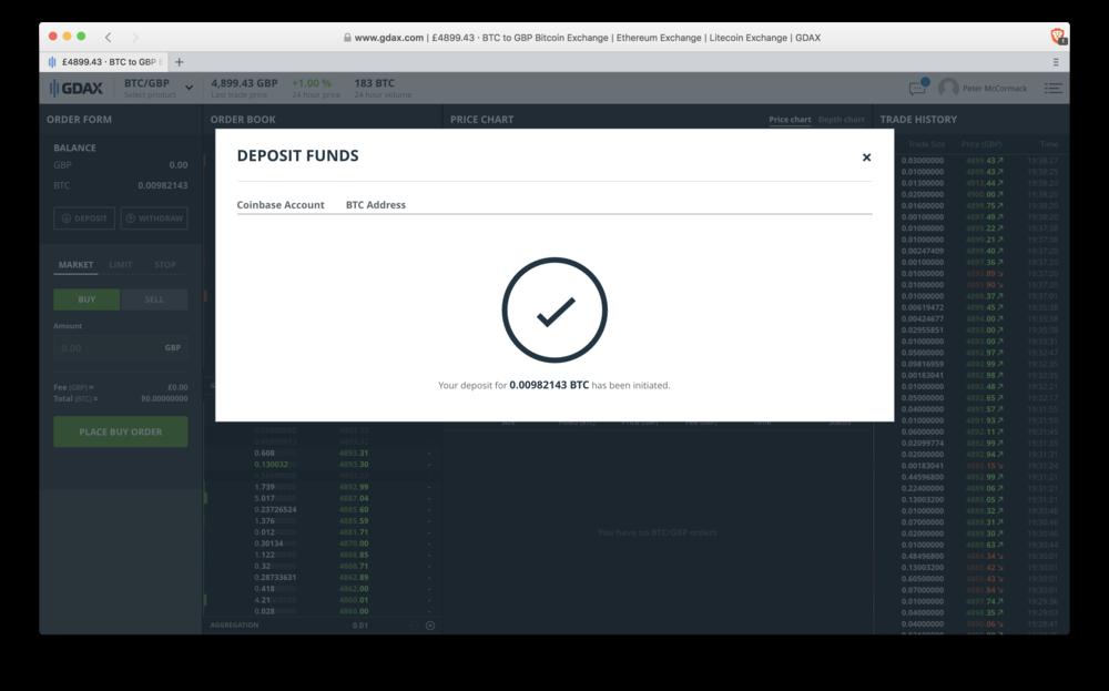 GDAX: deposit confirmation