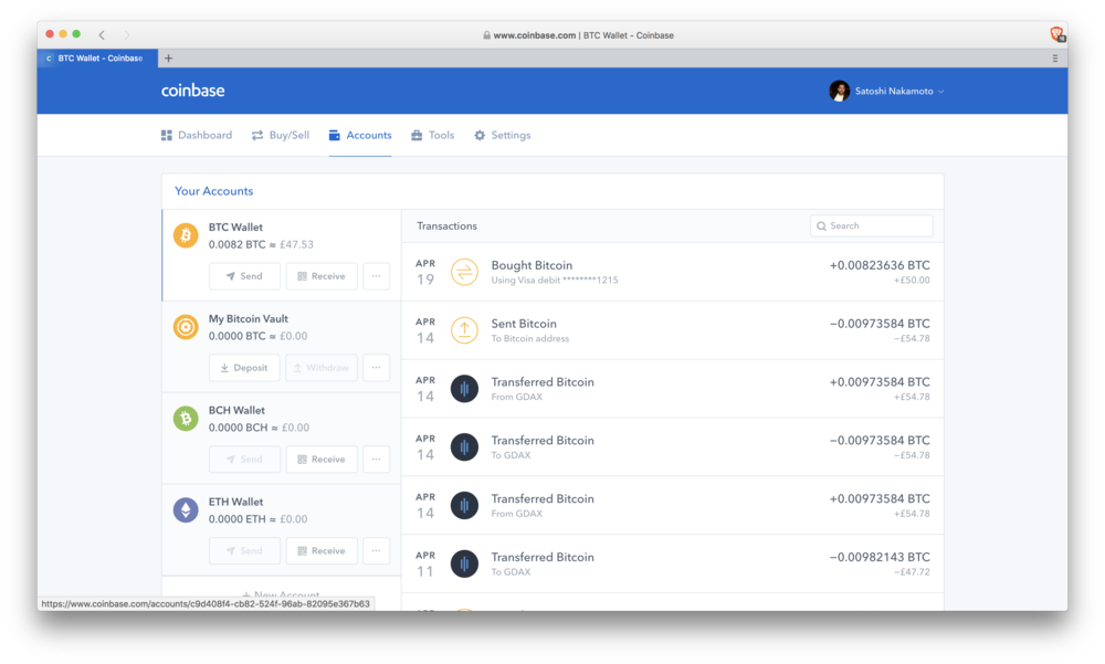 Coinbase: vault account