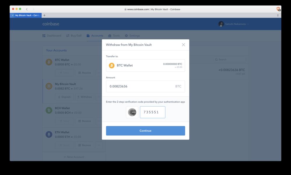 Coinbase: vault withdrawl