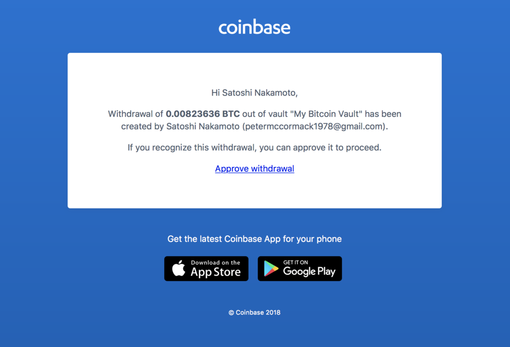 Coinbase: vault withdrawal email confirmation