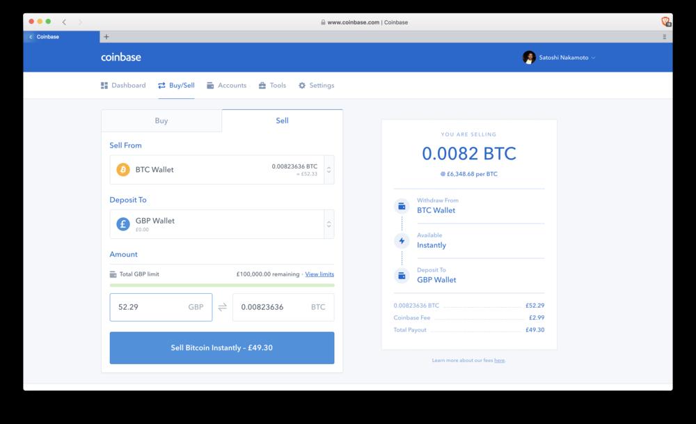 Coinbase: sell Bitcoin