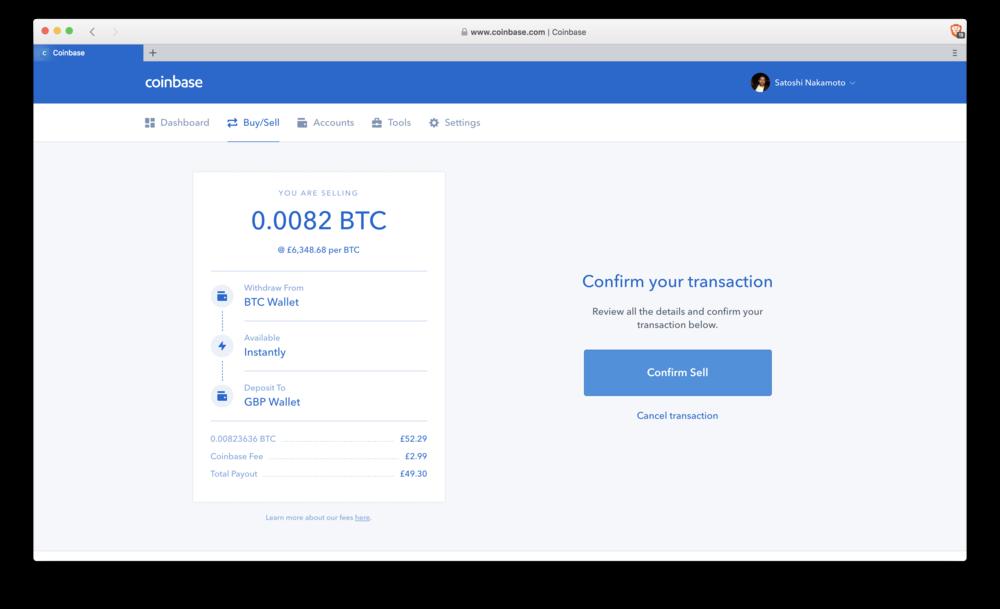 Coinbase: confirm sell
