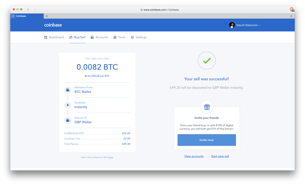 Coinbase: sell complete