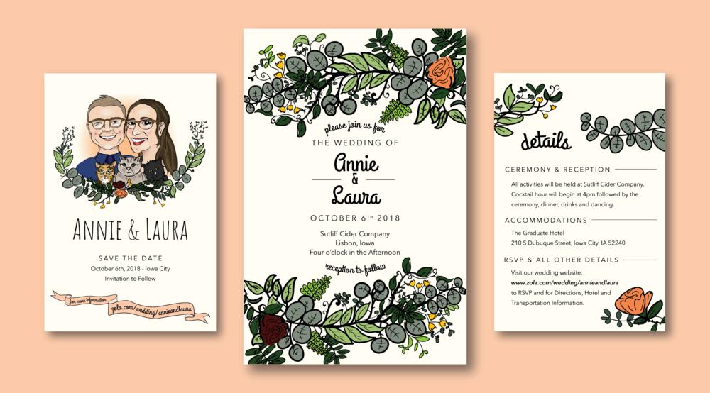 Annie & Laura  - Wedding Suite: Save the Date & Invitation