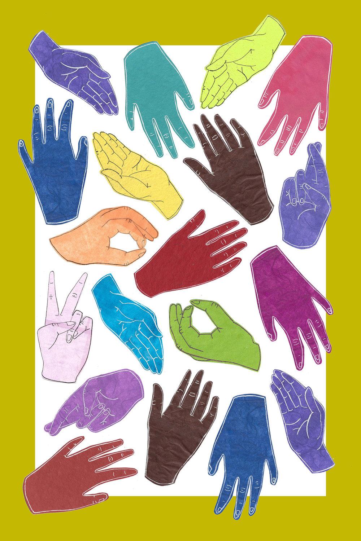 """""""All Hands"""" Tea Towel -  Original Artwork & Screenprinting"""
