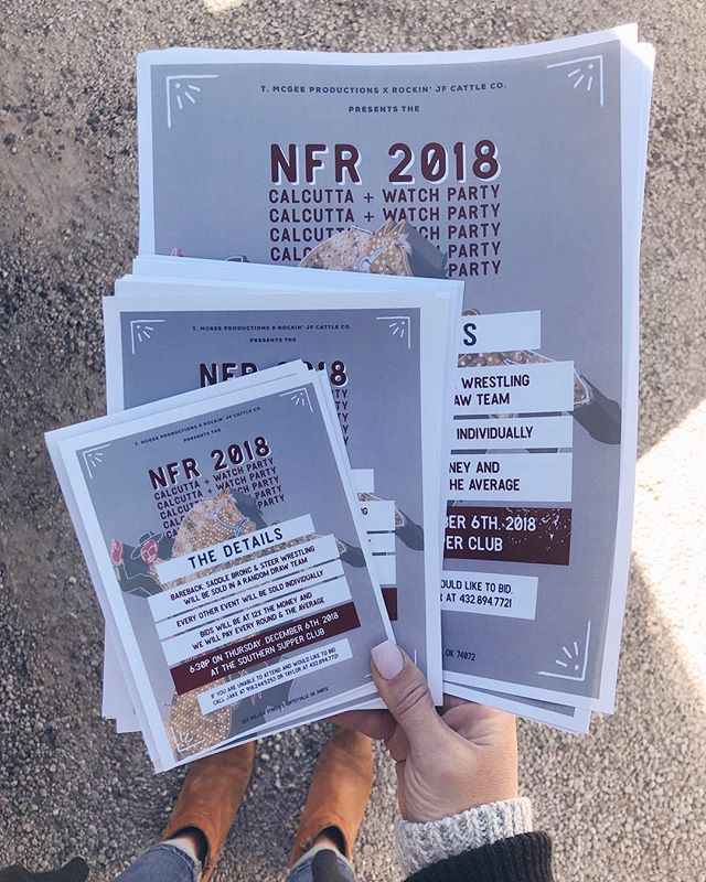 Flyers for tonight's #NFR Calcutta. Hope to see you at the Supper Club!  Flyers printed by Get Right Graphics in downtown Coffeyville
