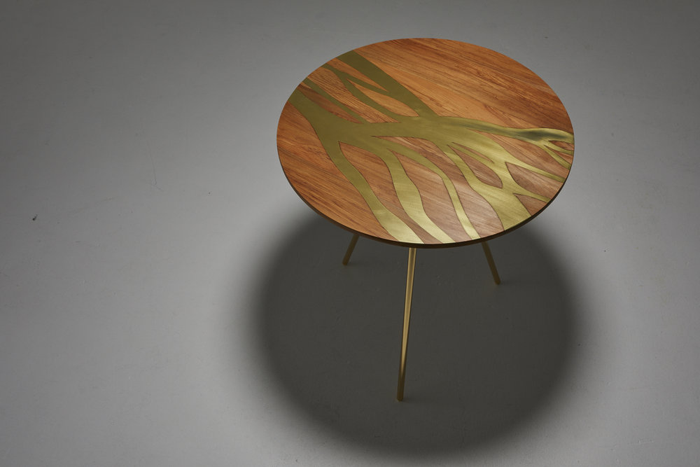 Flow Side Table - Made of River Rescued Rimu and brass.