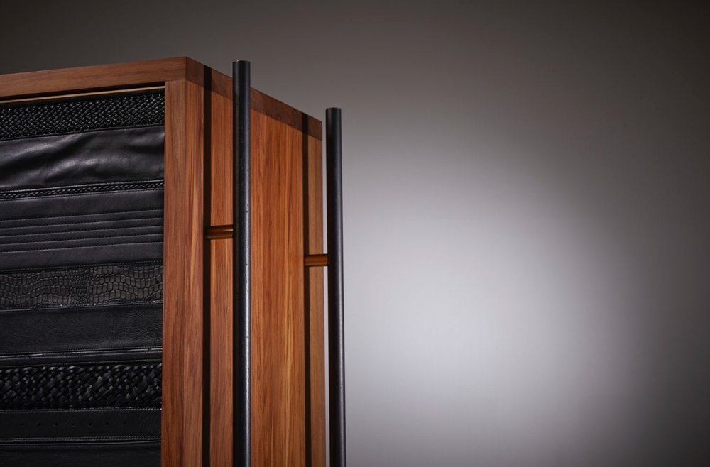 The ReLEATHERED Armoire - blackened steel and polished brass.