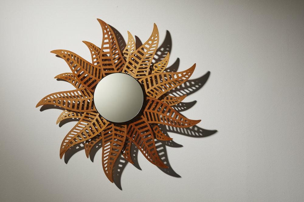 The Fern Mirror. Reclaimed Kauri wood.