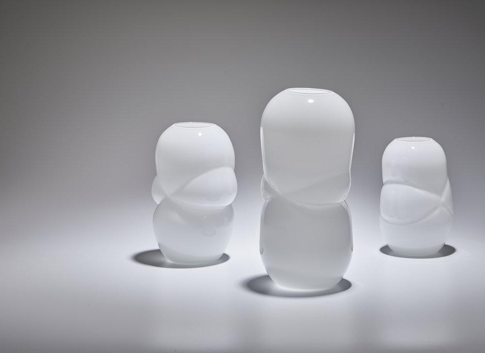 The White Cloud Vases. Handblown glass.