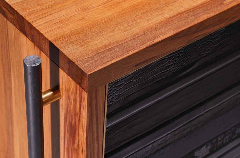 Detail of the ReLEATHERED Sideboard/Credenza.