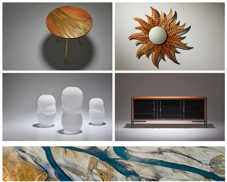 LyZadie Design Studio's four collections - The Flow Side Table, the Fern Mirror, The White Cloud Vases and the ReLeathered Sideboard.