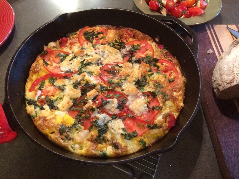 Frittata with red pepper, tomato, goat milk cheddar and fresh basil...