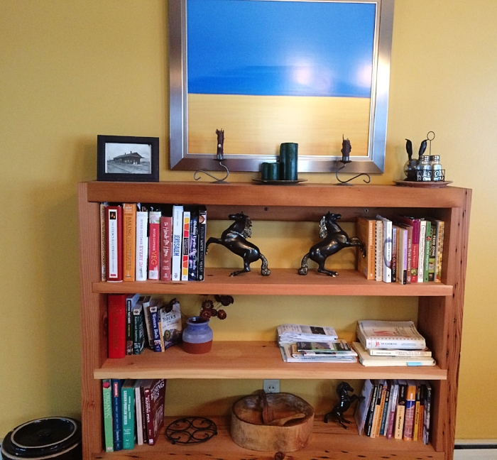 Thanks to Micah's awesome design and building skills, we now have an accessible space to house the cookbooks