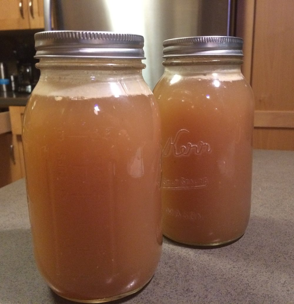 Finished, canned chicken stock