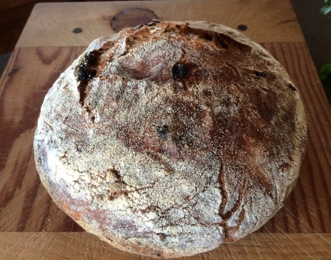 This was a variation on the no-knead-- Walnut and Raisin!