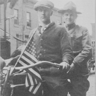 """""""My great grandpa Wilbur Heritage, and his brother Raymond, around 1917 near the end of WWI. They are seated on a Harley Davidson 'F' head. This was the first motorcycle in Philadelphia to sport an electric headlight."""" Image and caption via Anna Heritage, Founder"""