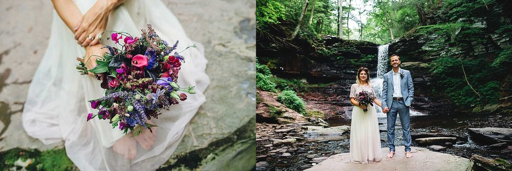 These stunning florals were crafted by  Gib's Farm  in Catawissa from their own garden. The bouquet perfectly matched the natural romantic theme.