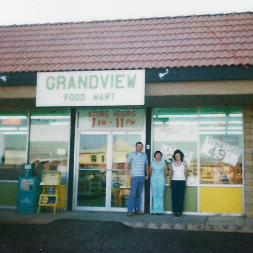 OCTOBER 1978 - My beloved grandmother (far right), Frances Jensen, standing in front of her new store, Grandview Market. I was only 4 years old at the time, but a few years later I started working in the store alongside my Grandma stocking shelves, helping the various delivery drivers, and eventually serving customers and operating the cash register.