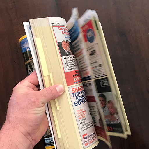 As I always say when this topic comes up, if you sell phone book advertising - I'm sorry. I don't want to threaten anyone's livelihood. But as a business owner who has spent thousands on phone book ads over the years, I remember the day I said enough is enough. Suffice to say, that was well over a decade ago.